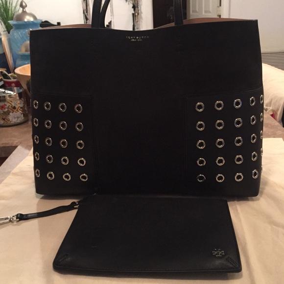777aa772c1 Tory Burch Black Leather Block-T Grommet Tote. M_5b037ffbfcdc31379da90b95.  Other Bags ...